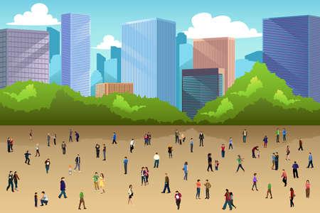 Une illustration vectorielle de la foule de personnes dans un parc dans la ville