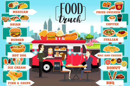 A vector illustration of Food Trucks Infographics Illustration