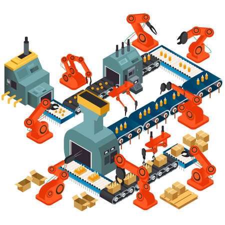 A vector illustration of Isometric Design of Automated Processing Plant
