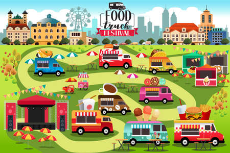 A vector illustration of Food Trucks Festival Map