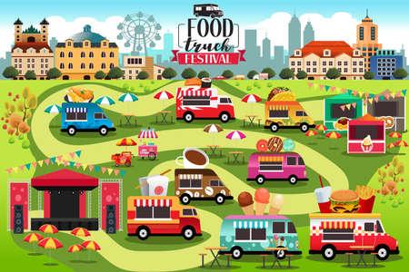 Une illustration vectorielle de Food Trucks Festival Map