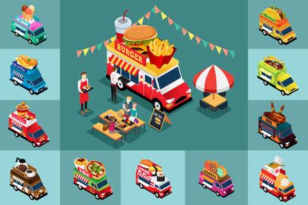 Une illustration vectorielle de la conception isométrique de différents camions alimentaires