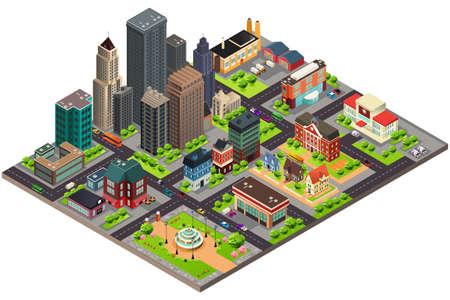 等尺性デザインの街の通りや建物のベクトル イラスト