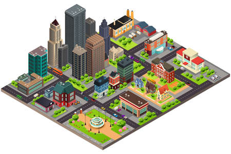 A vector illustration of Isometric Design of City Streets and Buildings Illustration