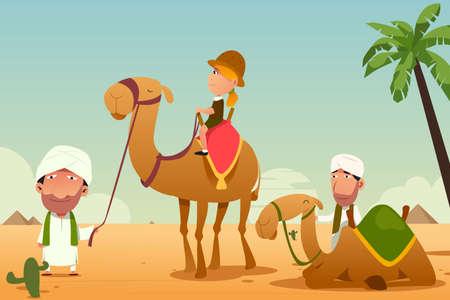Une illustration vectorielle d'un touriste féminin qui monte un chameau dans le désert