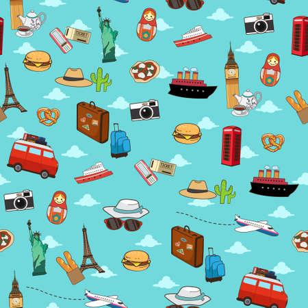 A vector illustration of Seamless Vacation Travel Pattern Wallpaper Background Illustration