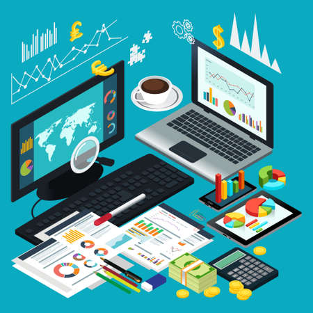 modern office: A vector illustration of Isometric View of Business Desktop
