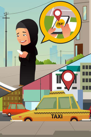 A vector illustration of a Muslim Woman Calling Taxi from Her Cellphone Illustration