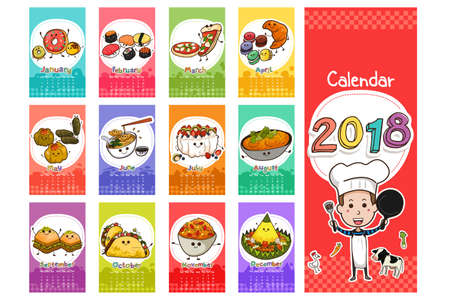 Une illustration vectorielle de 2018 Food Themed Calendar in Cartoon Style