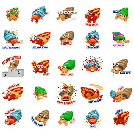 A vector illustration of Hermit Crab Emoji Emoticon Expression 向量圖像