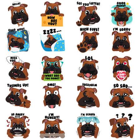 A vector illustration of Bulldog Dog Emoji Emoticon Expression