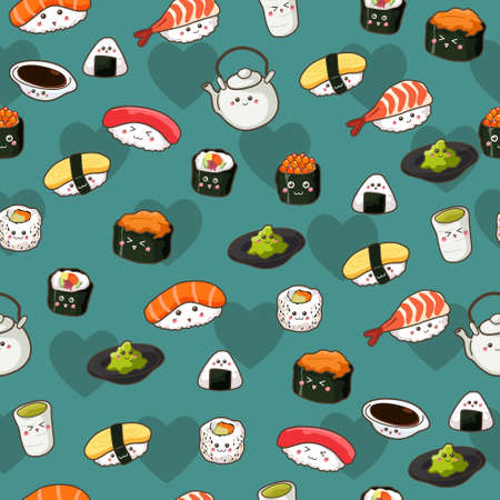 A vector illustration of Seamless Sushi Pattern Wallpaper Background