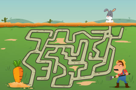 A vector illustration of Children Maze Game of Rabbit and Carrot