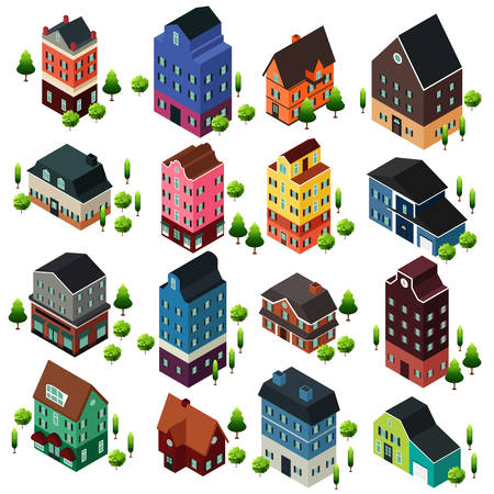 A vector illustration of Different Isometric House Buildings
