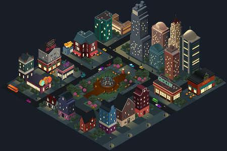 Une illustration vectorielle du design isométrique des rues et des bâtiments de la ville à la nuit