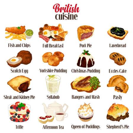 Una ilustración vectorial de British Food Cuisine