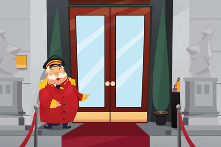 A vector illustration of Doorman Standing in Front of the Entrance Doors Illustration