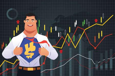 A vector illustration of Superhero Businessman in Finance Concept