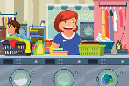 A vector illustration of Woman Doing Laundry at Laundry Place Çizim