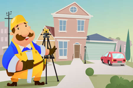 Illustration of Contractor Standing in Front of a House
