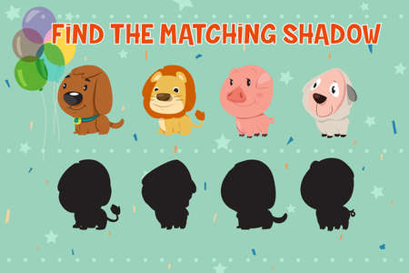 Illustration of Animals Shadow Matching Game for Kids Illustration