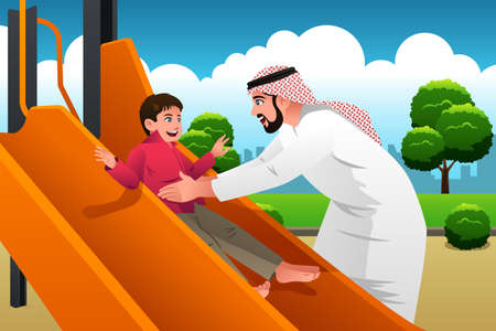 Illustration of Arabian Man with His Child in the Playground
