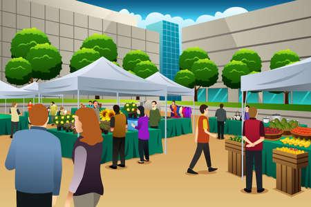 시장에서 쇼핑하는 사람들의 그림