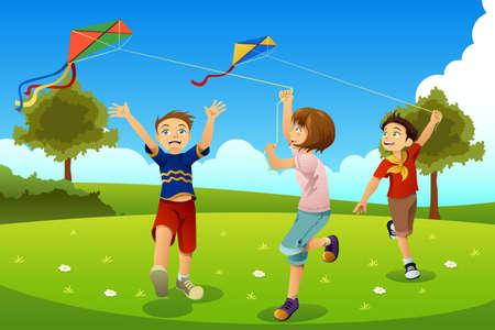 Illustration of Kids Flying Kites in a Park