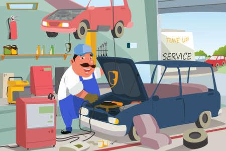 ガレージで、車を修理する自動車整備士のイラスト