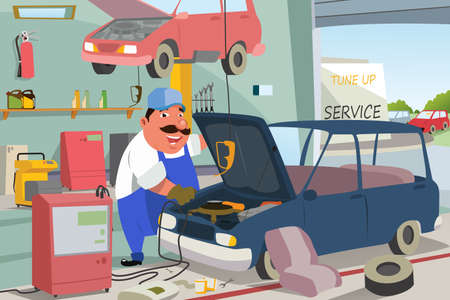 Illustration of Auto Mechanic Fixing a Car in the Garage