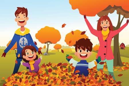 beautiful men: A vector illustration of Family Celebrates Autumn Season Outdoors