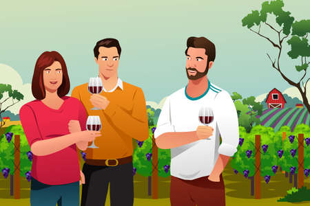 A vector illustration of People Drinking Wine at Winery