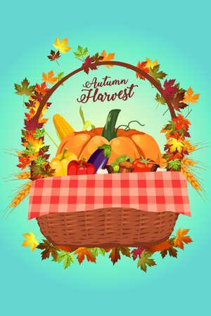 A vector illustration of Autumn Harvest Poster Illustration