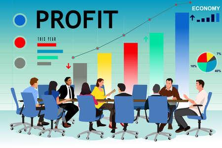 Une illustration de vecteur de gens d'affaires dans une réunion au bureau