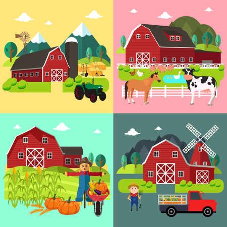 A vector illustration of Farm Life Cliparts