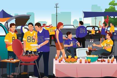 Une illustration vectorielle des fans de football américain ayant une partie de hayon