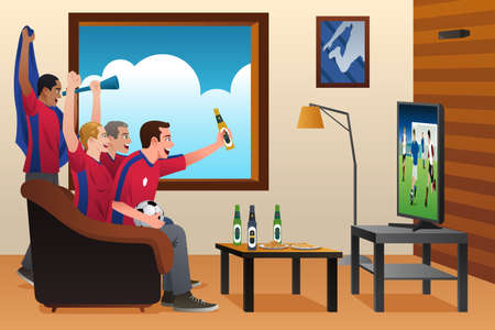 A vector illustration of soccer fans watching the game on TV Illustration