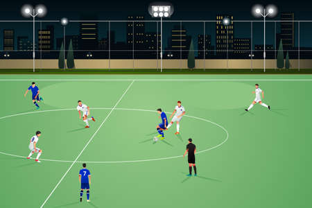 Une illustration de vecteur de personnes jouant au football de nuit