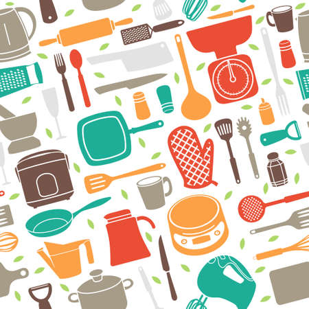 A vector illustration of Seamless Pattern of Kitchen Utensil in Retro Style