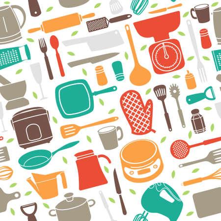 Une illustration vectorielle de Motif sans couture d'ustensile de cuisine en style rétro