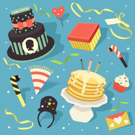Une illustration de vecteur de élément de conception de clipart joyeux anniversaire icône