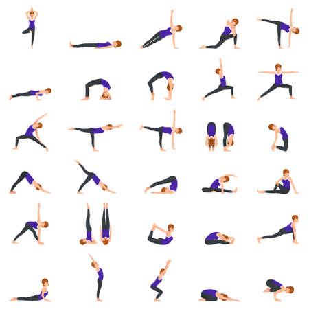 Une illustration vectorielle de Woman Doing Yoga Poses