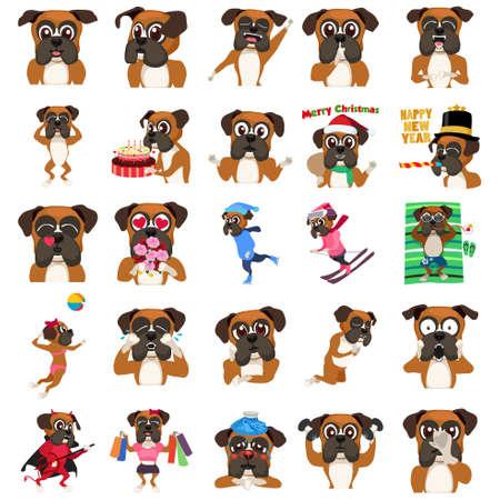 Une illustration de vecteur d'un chien de boxeur Emoji émoticônes Expression Illustration