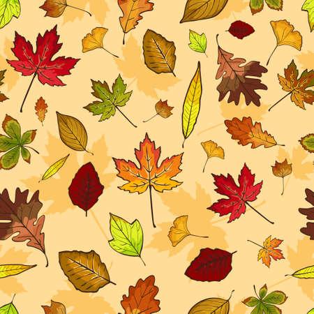 Une illustration vectorielle du papier peint à motifs transparents des feuilles d'automne