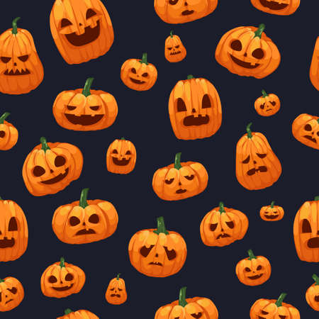 A vector illustration of Pumpkins Jack O Lantern Seamless Wallpaper