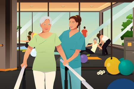 Une illustration vectorielle du thérapeute physique travaillant sur un patient âgé