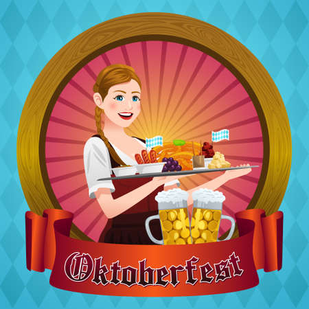 A vector illustration of Oktoberfest Poster With Bavarian Woman Illustration