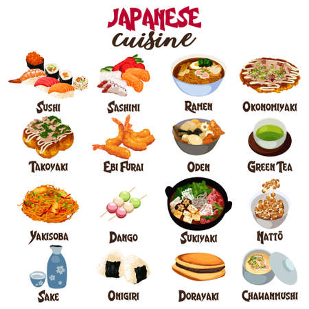 A vector illustration of Japanese Food Cuisine