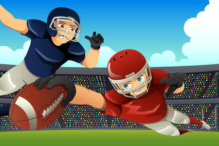 A vector illustration of American Football Players Playing Football in a Stadium Çizim