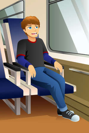 A vector illustration of Young Man Sitting in a Bus or Train